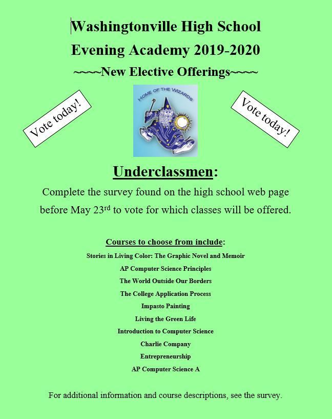 WHS Evening Academy 2019-2020 New Elective Offerings Survey